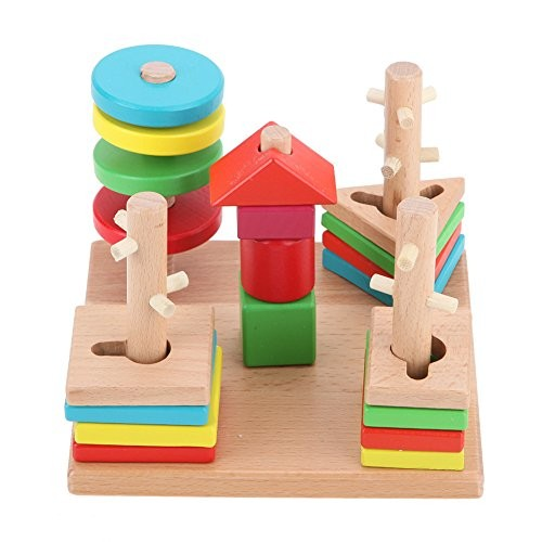 Stacking Baby Toys Kids Colorful Wooden Building Blocks Column Geometry Cognitive