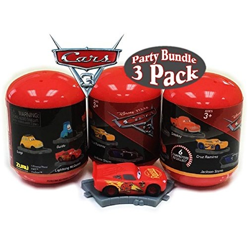 Disney Cars 3 Deluxe Mini Dioramas Mystery Capsules Gift Set Party Bundle – 3