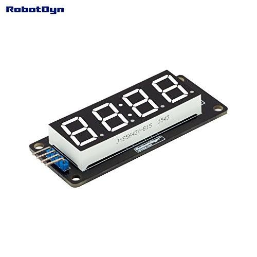 RobotDyn – 4-Digit LED 056 7-Segment Display Tube TM1637 disp Size 50x19mm Red Clock Colon