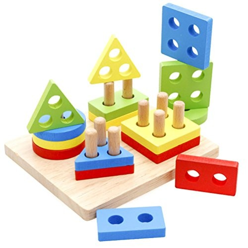 TOYMYTOY Wooden Geometric Shape Blocks Puzzle Building Stacking Toy Set for Kids