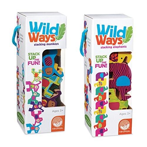 MindWare Wild Ways Stacking Wooden Animals Toys Set of 2 Monkeys and Elephants