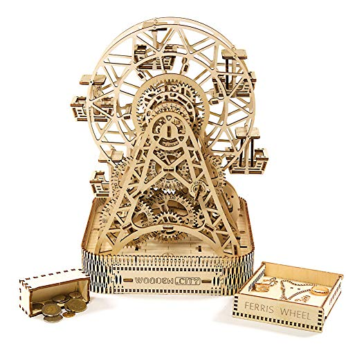 WoodenCity 3D Wooden Puzzle Mechanical Model for Adults and Teens Ferris Wheel DIY Kit Self-Assembly No Glue Required