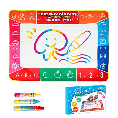 Monilon Aqua Magic Water Doodle Mat Kids Learning Toys with 3 Pens 40 Inches x 28