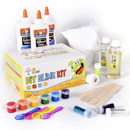 Homemade Slime Kit How to Make Putty and Goo Includes Containers Ingredients Supplies for 4 Different Kinds of Slime Glow in the Dark Neon Colored Foam Glitter by Mr E=mc2
