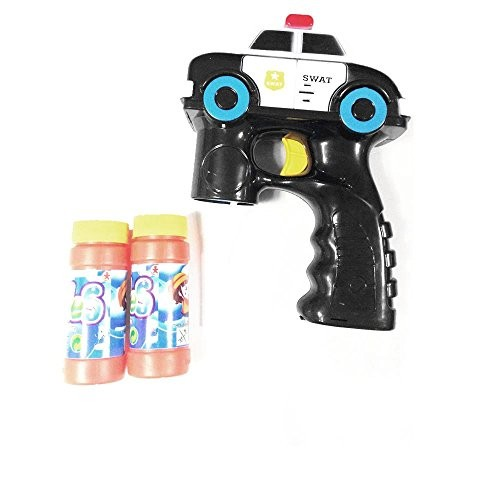 Lightahead Police Swat Car Light Up Bubble Gun Blaster Shooter with MusicIncludes 2 Bottles of Solution