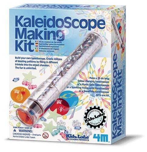 Kaleidoscope Making Kit by 4M Kidz Labs For Ages 7+ Make different kinds of kaleidoscopes and create millions dazzling patterns filling in trinkets into the object chamber