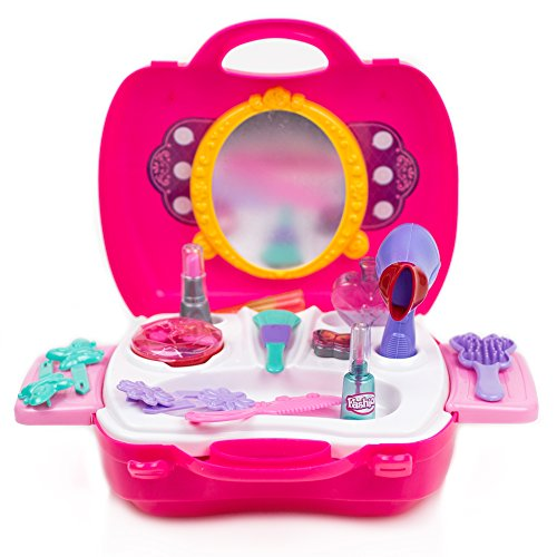 Toysery Pretend Makeup Kit for Kids Complete 21 Pieces Play Set Toddlers and Little Girls Princess Toys with Lightweight Portable Children Beauty Salon Case Including Cosmetics