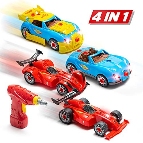 Prextex 53 Piece Build Your Own Racer Car Set STEM take Apart Toys for