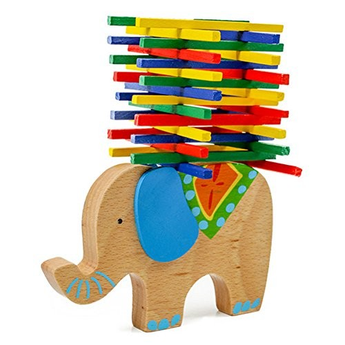 BUYITNOW Kids Wooden Building Blocks Toy Cute Animals Balancing Beam Intractive Games