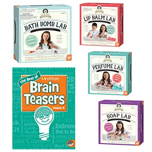 MindWare Science Academy Set of 4 Clean Chemistry Kits with Free Brainteaser Book