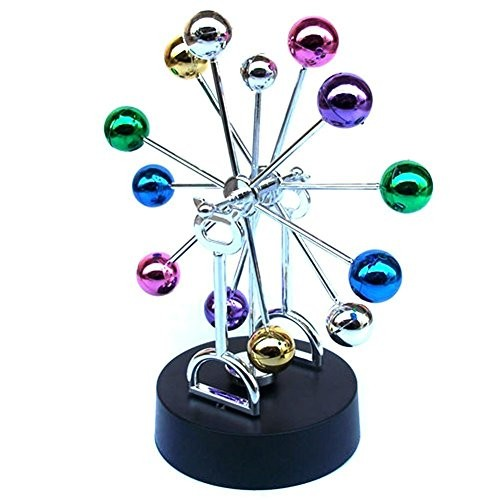 PROW Multi Color Asteroid Electric Powered Revolving Balance Balls Perpetual Motion Great Office Decoration or Executive Gift