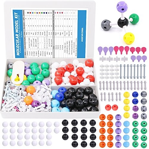 Swpeet 252 Pcs Molecular Model Kit for Inorganic & Organic Teacher and Student – 86 Atoms 153 Links 12 Orbitals 1 Short Link Remover Tool