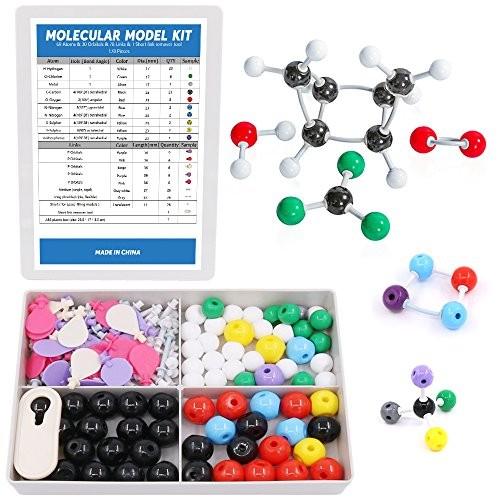 Swpeet 178 Pcs Molecular Model Kit for Inorganic & Organic Teacher and Student – 69 Atoms 30 Orbitals 78 Links 1 Short Link Remover Tool Science Toys