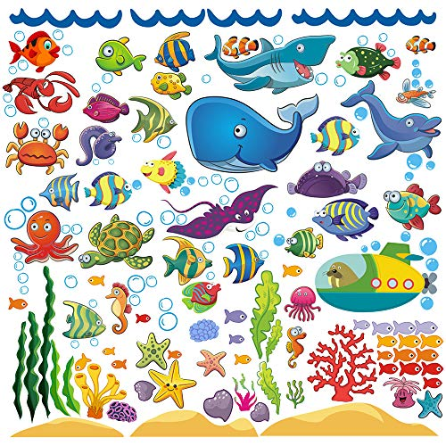Decorative Ocean Fish Wall Stickers for Kids Under The Sea Decals Toddlers Bathroom Bedroom Bathtub Babys Nursery and Childrens Classroom Removable Peel Stick Decor That Clings
