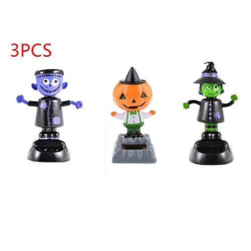 URToys 3Pcs Desk Dancing Solar Toy Pumpkin &Witch& Ghost Doll Powered Toys Dashboard For Car Oranment Office Home Decor Novelty Kids Halloween Supplies