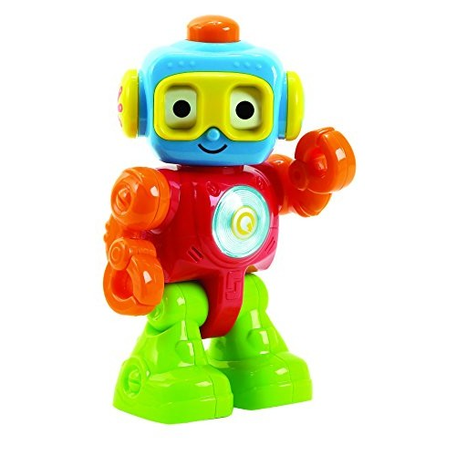 KidSource Robot Q – Sensory Baby Toy with Lights and Sounds Push Spin Move Elements to Develop Fine Motor Skills for Ages 2 Years Old Up