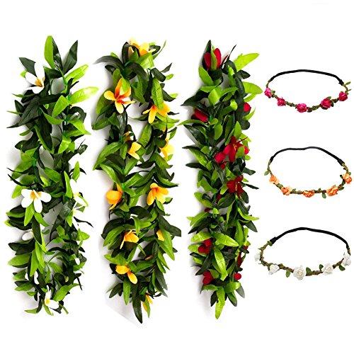 Bulk Buy Headband Hawaii Hula Hawaiian Flower Garland Lei Necklace Aloha Summer