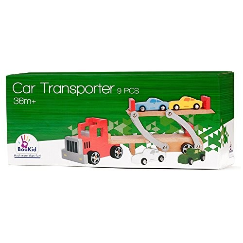BooKid Durable and Colorful Wooden Car Transporter with Toy Cars and Toy Truck Educational