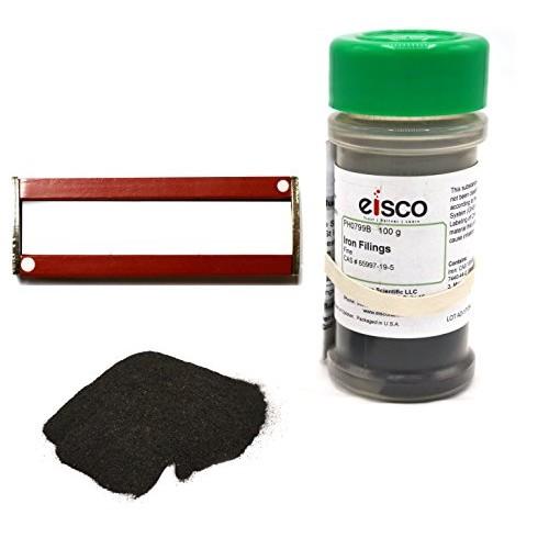 Fine Iron Filings and Magnet Set – 100g in Sprinkler Jar w 2 Magnets 3 Eisco Labs