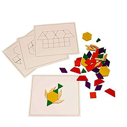 Toy Cubby Wooden Building Blocks Set of 120 with 10 Board Template Patterns – Educational Count Assorted Color Stackable Puzzle