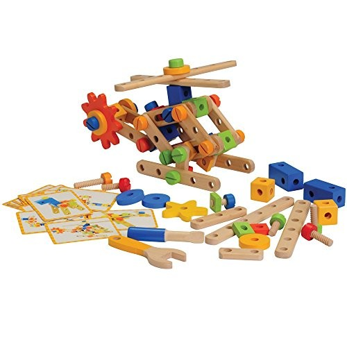 Constructive Playthings Wood Nut and Bolt Builder with Activity Cards for Kids STEM Approved Educational Learning Toy 18 Piece Set