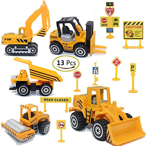 ZOHUMI Construction Toys Sets 5 Pieces Mini Vehicles Including Truck Forklift Bulldozer Road Roller Excavator Dump TractorFree-Wheeling Cars for Children