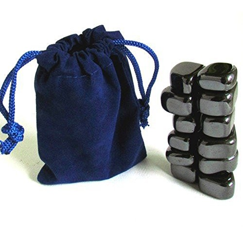 Yellow Brick Road Magnetic Tumbled Polished Hematite Stones 12 Pieces in Blue Velvet Bag Party Gift