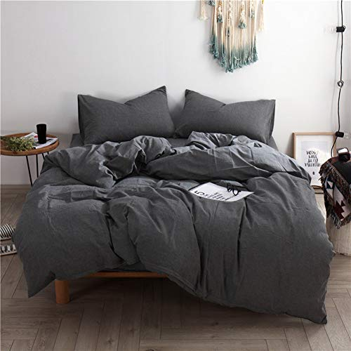 Mucalis Dark Gray Queen Duvet Cover 100% Washed Cotton Set Full Zipper Closure Ultra Soft Comfy 3pc Solid Grey Simple Farmhouse Bedding