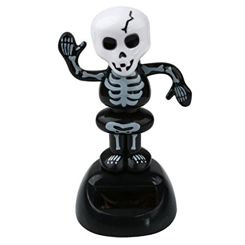 Elevin TM Happy Halloween 2017 Solar Toy Dancing Skeleton Pumpkin for Party Games Nightmare Swinging Animated Bobble Head Ghost Dancer Home Car Decor Gift A