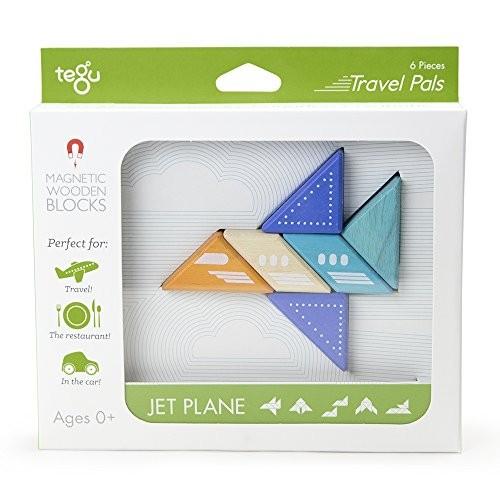 6 Piece Tegu Travel Pal Magnetic Wooden Block Set Jet Plane