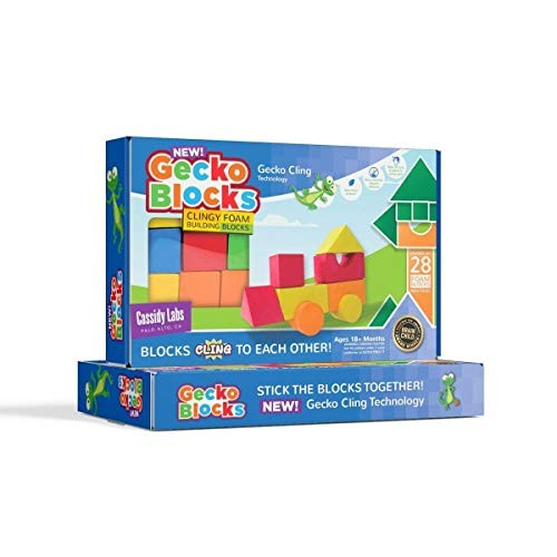 Cassidy Labs Gecko Blocks Sticky Block Construction Toy for Kids Works in Bath and on Windows