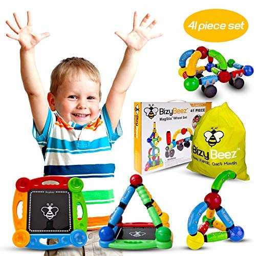 BizyBeez Magnetic Building Blocks Set Special Needs Toys for Kids with Autism Great Autistic Boys and Girls 3 Years Old Up