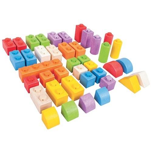 Bigjigs Toys Wooden Click Blocks Set Intermediate Pack – Stacking