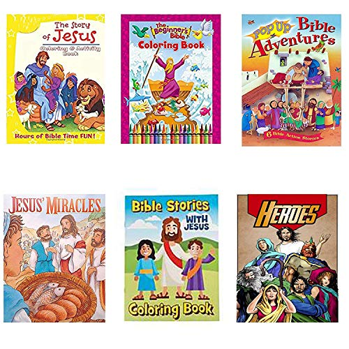 Bible-Themed Activity and Coloring Books Reading Relaxation Numbers Workbook Play Learning Great for Kids Teens 2-ct Pack