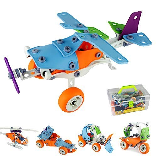 PBOx 132PCS5-in-1 Toddler Building Construction SetBuilding Truck kit STEM Educational Engineering Blocks Toy for 4-5+Year Old Boys&Girls