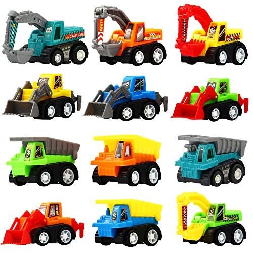 Pull Back Car 12 Pcs Mini Truck Toy Kit Set Play Construction Engineering Vehicle