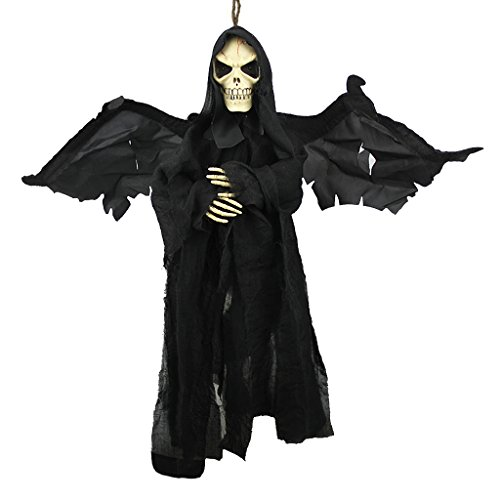 236 Flying Ghoul Ghost with Sound & Glowing Red Eyes Hanging Scary Grim Reaper Skull Vampire Halloween Decoration Haunted House Props Yard Outdoor Indoor Bar KTV Ornament Decor Toys Gift