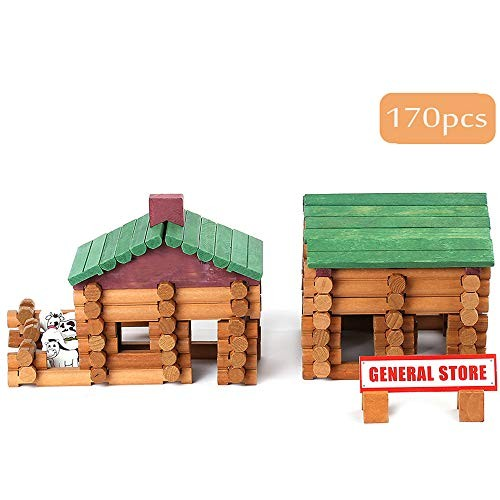 Joqutoys Building House Toy for Toddlers 170 PCS Wooden Cabin Log Set Preschool Education Construction Gift Years Old