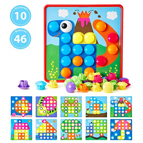 Button Art Toys for Toddlers Geekper Color Matching Mosaic Pegboard Early Learning Educational 2 3 4 Year Old Boys and Girls 10 Pictures 46 Buttons