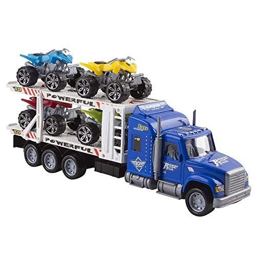 Vokodo Toy Semi Truck Trailer 15 Includes 4 ATVs Friction Carrier Hauler Kids Push