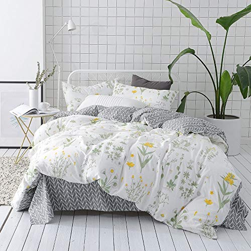 VClife Twin Floral Duvet Cover Sets Cotton Yellow White Botanical Bedding for Girl Woman -Reversible Arrow Printed Grey Collection – 3 pcs Vintage Garden Plant Style Quilt