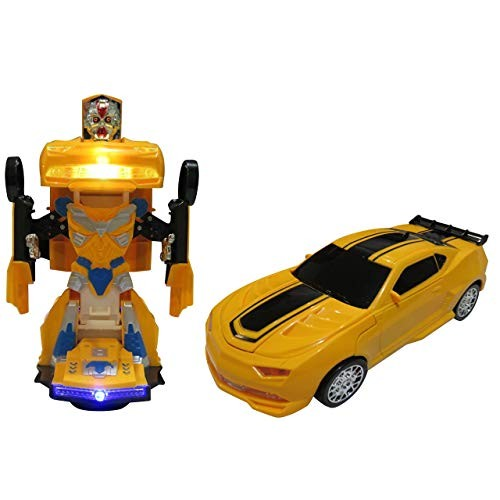 Car Transforms into Robot Toys for Children Bump and Go Action with Lights Scary Sounds