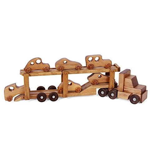 Clip Clop CAR Carrier Wood Toy – Handmade Tractor Trailer Truck with 6 Cars