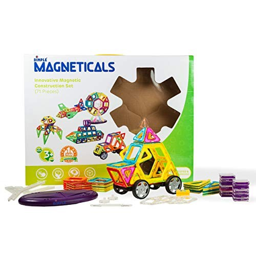 Magneticals 71 Piece Set Magnet Building Tiles 3D Tile Create and Learn Promote Early Learning Creativity beyond Imagination Inspirational Recreational Top-Rated Toy for Kids Age 3+