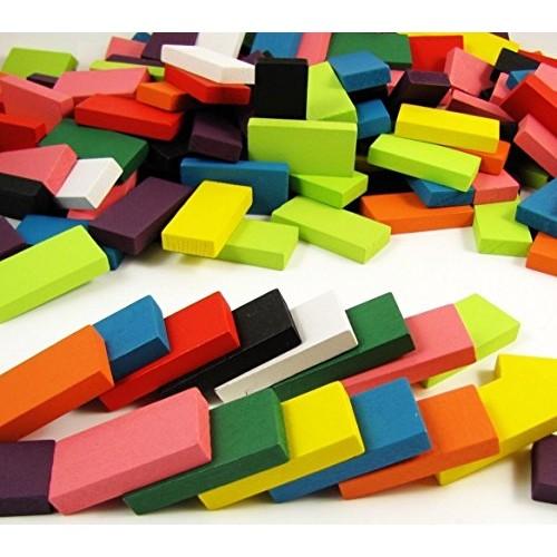 BlueSnail 10 Colors Authentic Standard Basswood Wooden Domino Blocks Set Kids Educational Racing Toy Tile Games 240 pcs