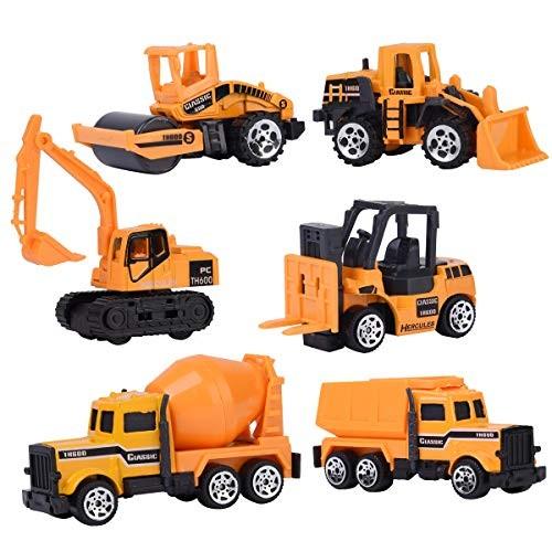 XADP 6 Pcs Play Vehicles Construction Vehicle Truck Cars Toys SetFriction Powered Push Engineering