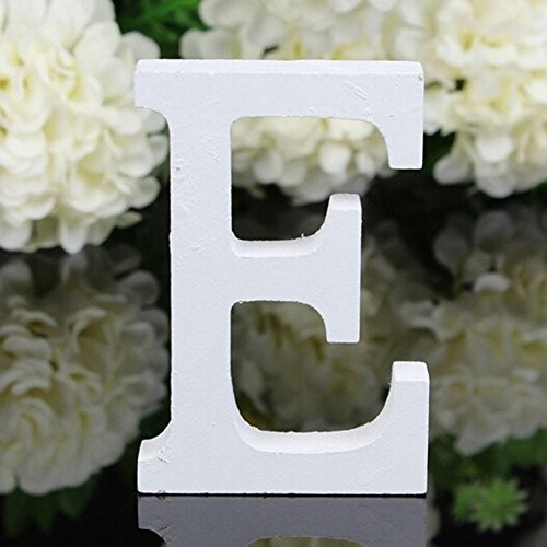 Totoo Decorative Wood Letters Hanging Wall 26 Wooden Alphabet Letter for Children Baby Name Girls Bedroom Wedding Brithday Party Home Decor-Letters E