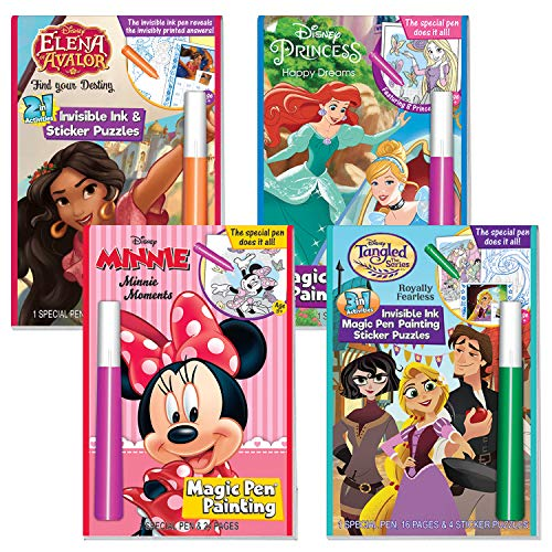 Lee Publications Disney Princesses Mess Free Marker Coloring Activity Book 4 Pack Elena Of Avalor The Little Mermaid Tangled And Minnie Mouse With Calendar Bag Educational Toys Planet