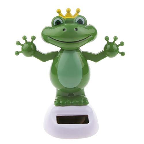 Top of store Frog Figure Solar Swing Ornamentation Green Energy Decor Sun Powered Shaking Dancing Car Toy for Family