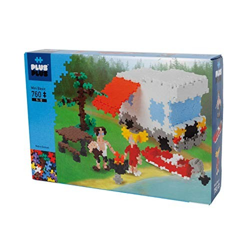 PLUS – Instructed Play Set 760 Piece Camping Construction Building Stem Toy Interlocking Mini Puzzle Blocks for Kids